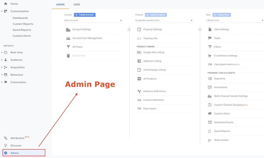 Google Analytics Admin Page